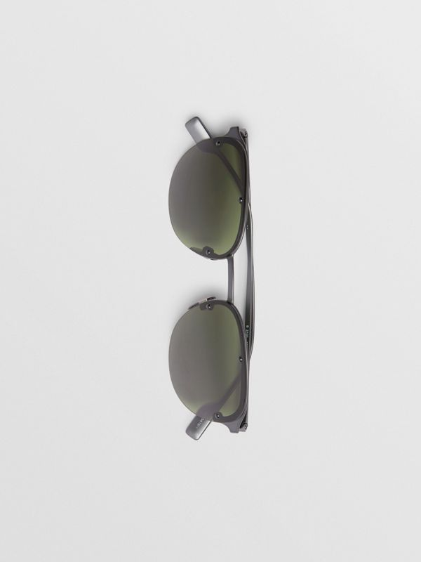 Round Frame Sunglasses in Green - Men | Burberry - cell image 3
