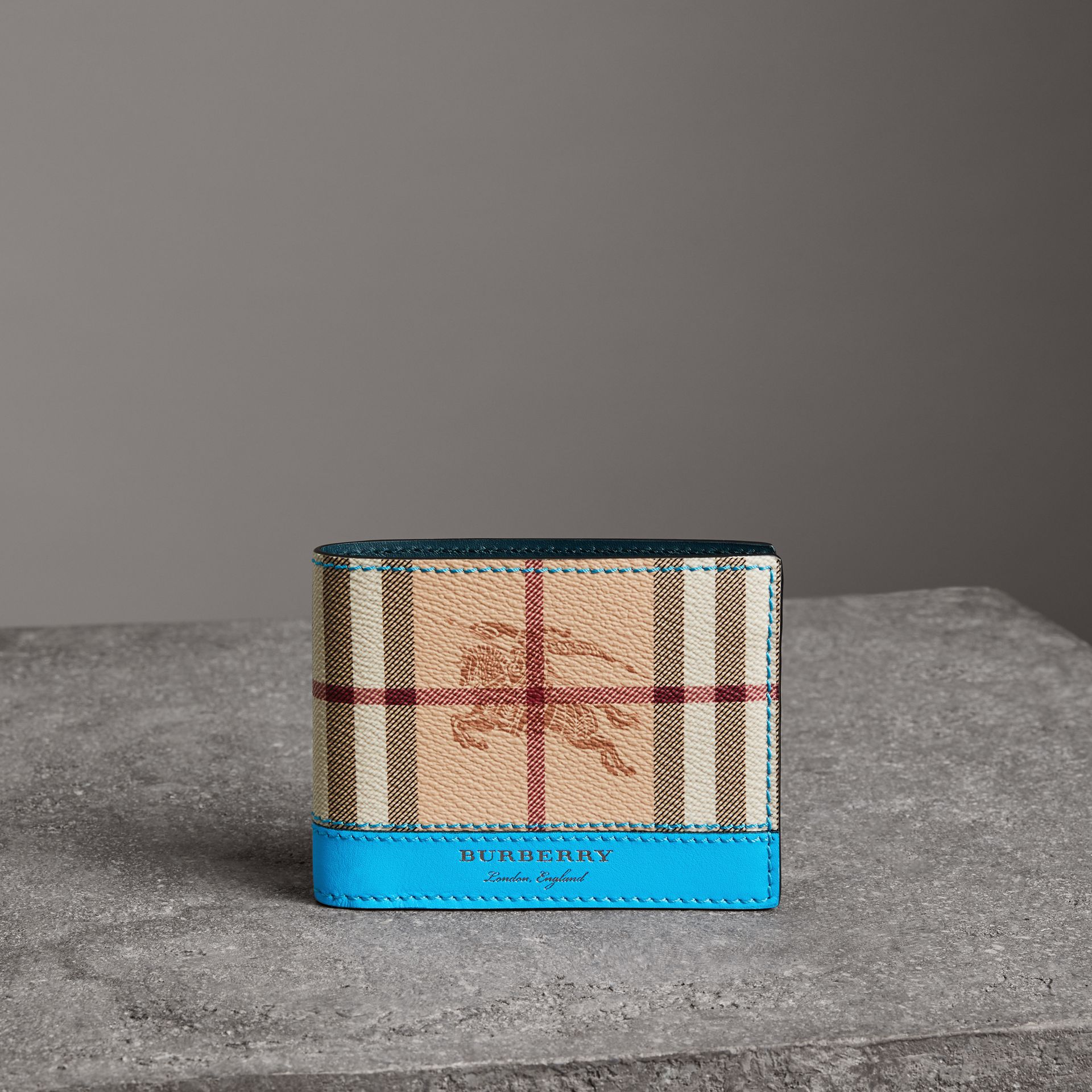 Haymarket Check and Leather Bifold Wallet in Bright Blue - Men   Burberry United States - gallery image 0