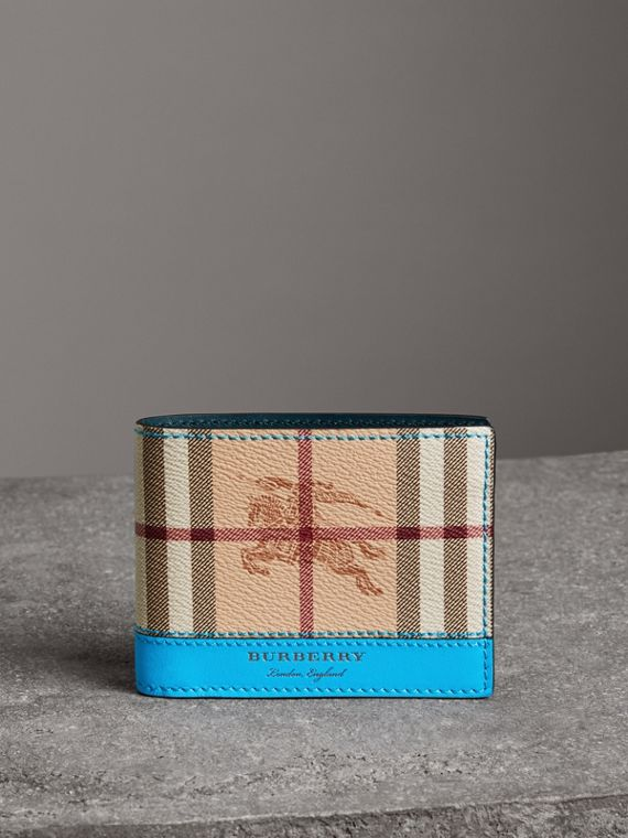Haymarket Check and Leather Bifold Wallet in Bright Blue
