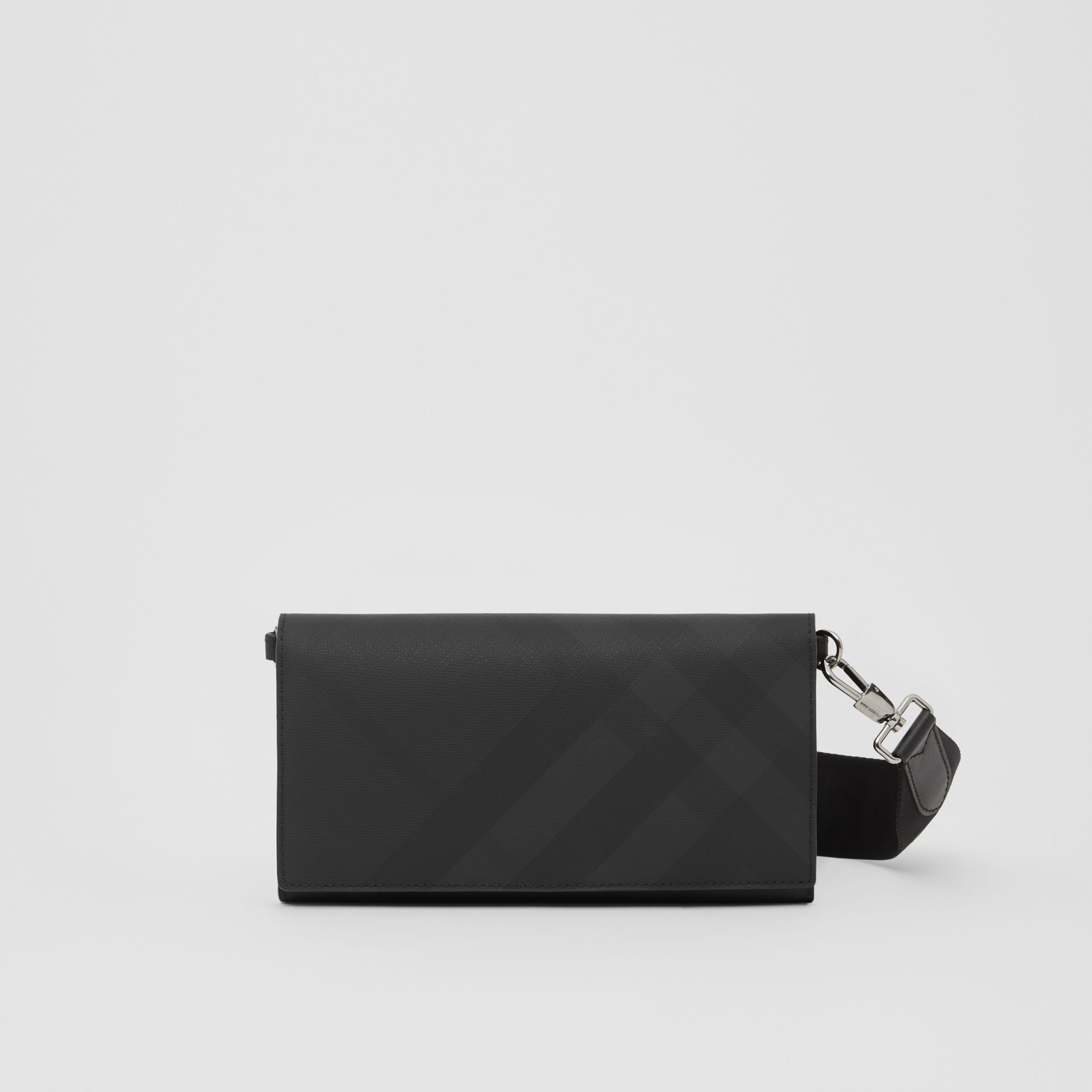 London Check Wallet with Detachable Strap in Dark Charcoal | Burberry Australia - 1
