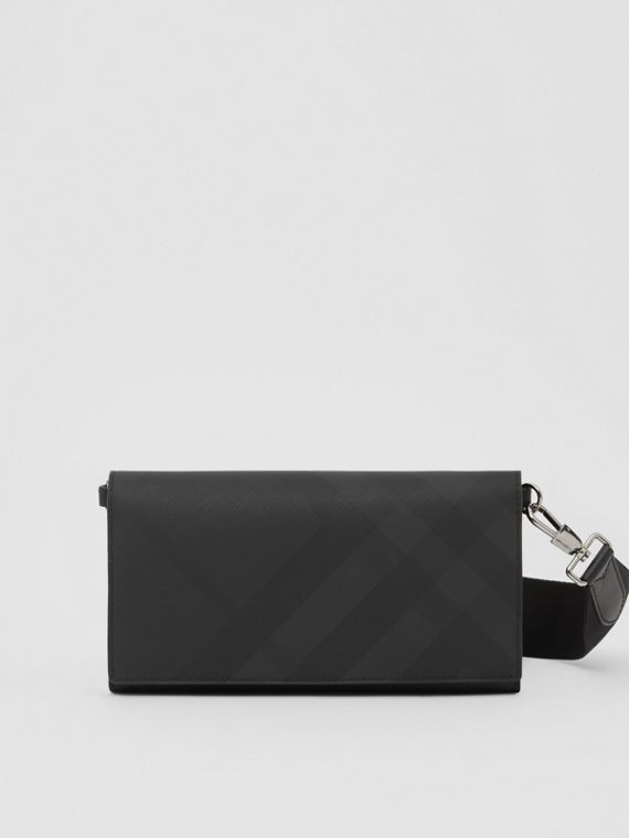 London Check Wallet with Detachable Strap in Dark Charcoal