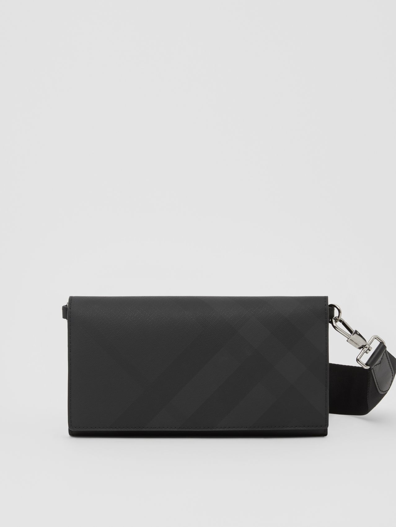 London Check Wallet with Detachable Strap (Dark Charcoal)