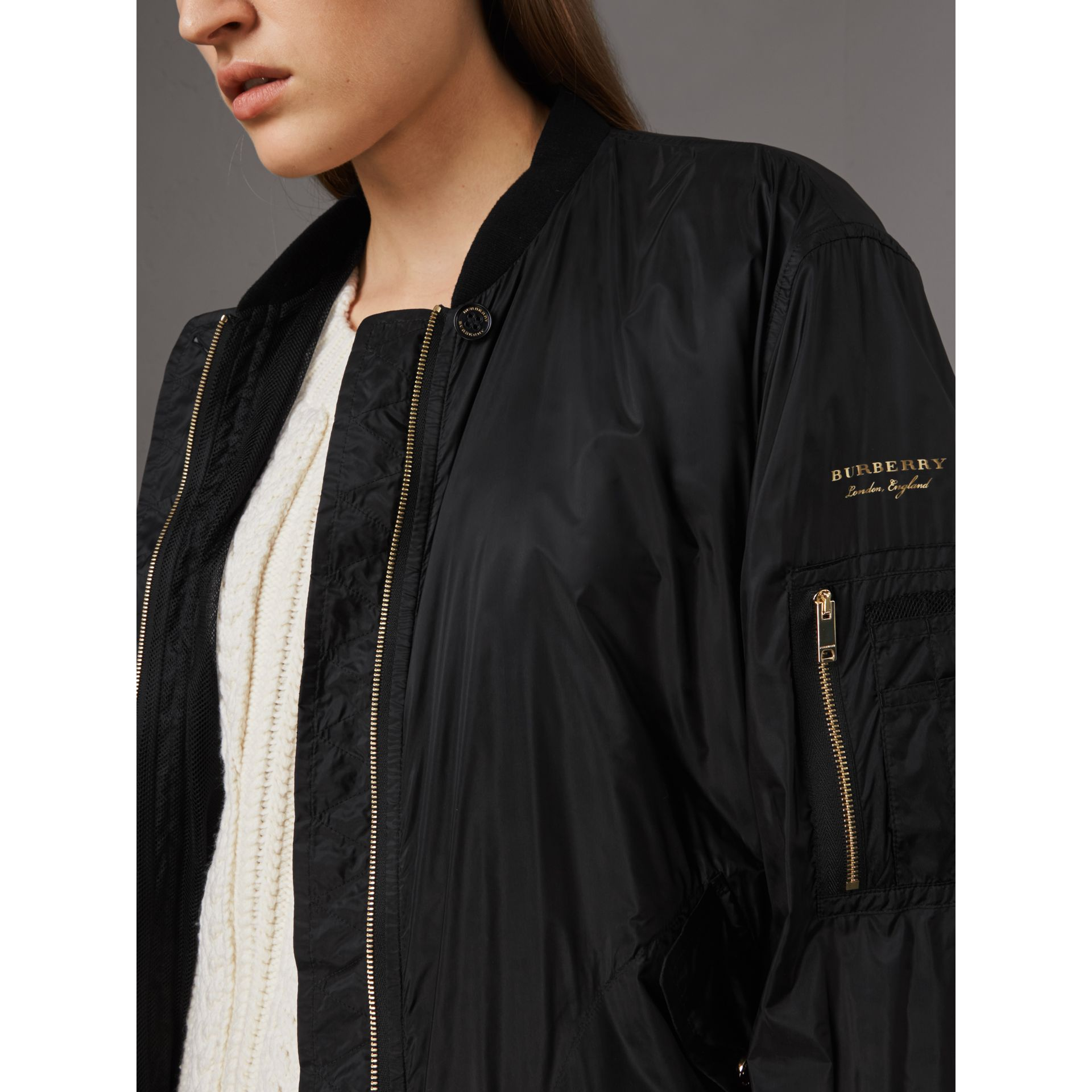 Lightweight Bomber Jacket in Black - Women | Burberry Hong Kong - gallery image 2