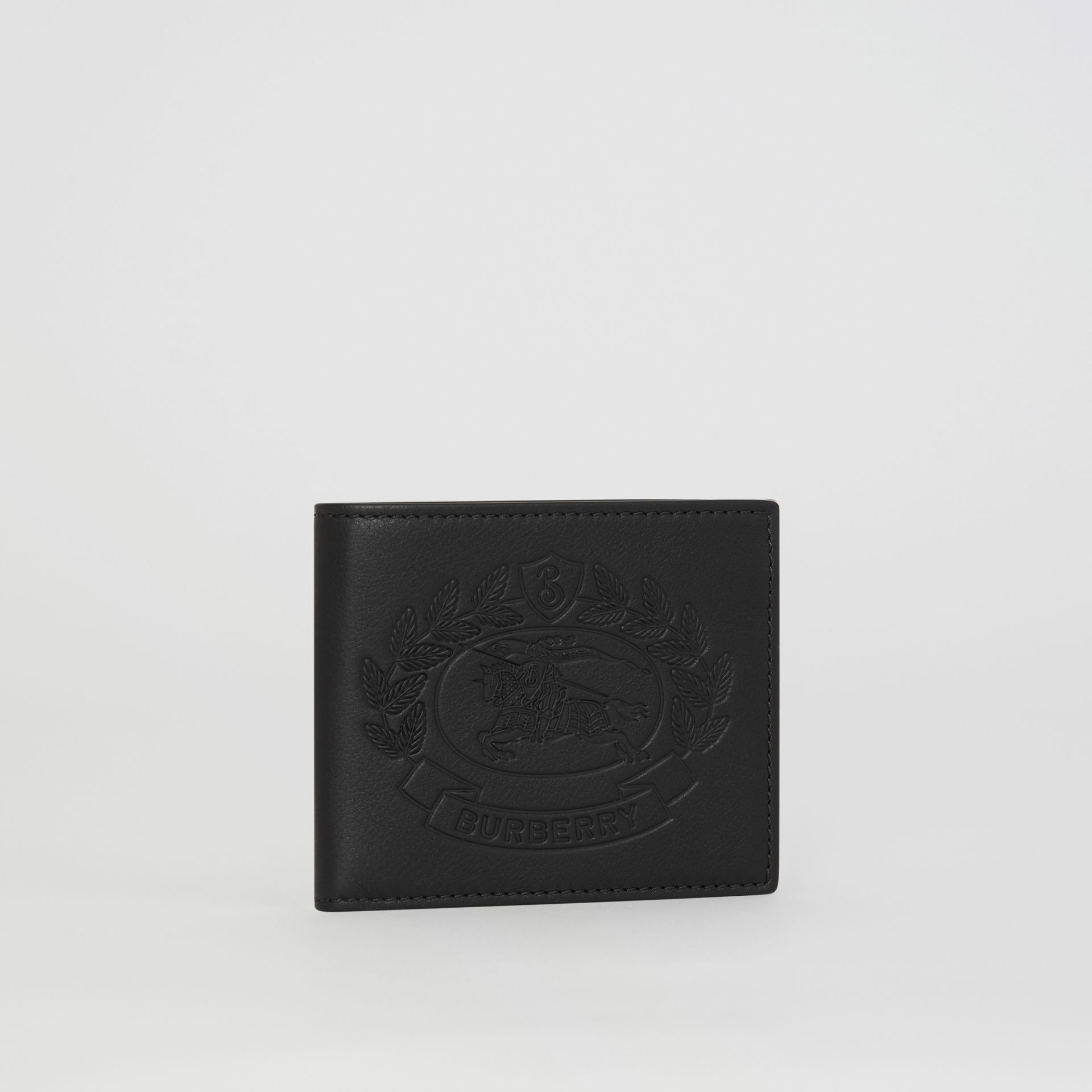 Embossed Crest Leather International Bifold Wallet in Black - Men | Burberry Canada - gallery image 4