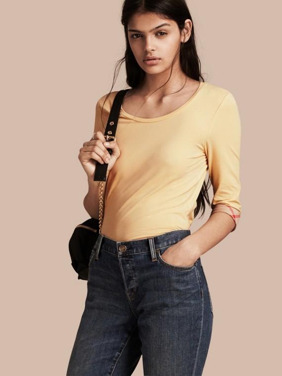 格紋袖口伸縮棉質上衣 淡檸檬色