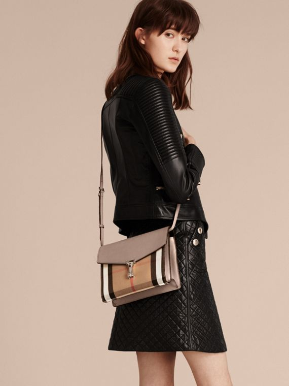 Small Leather and House Check Crossbody Bag in Thistle Grey - cell image 2