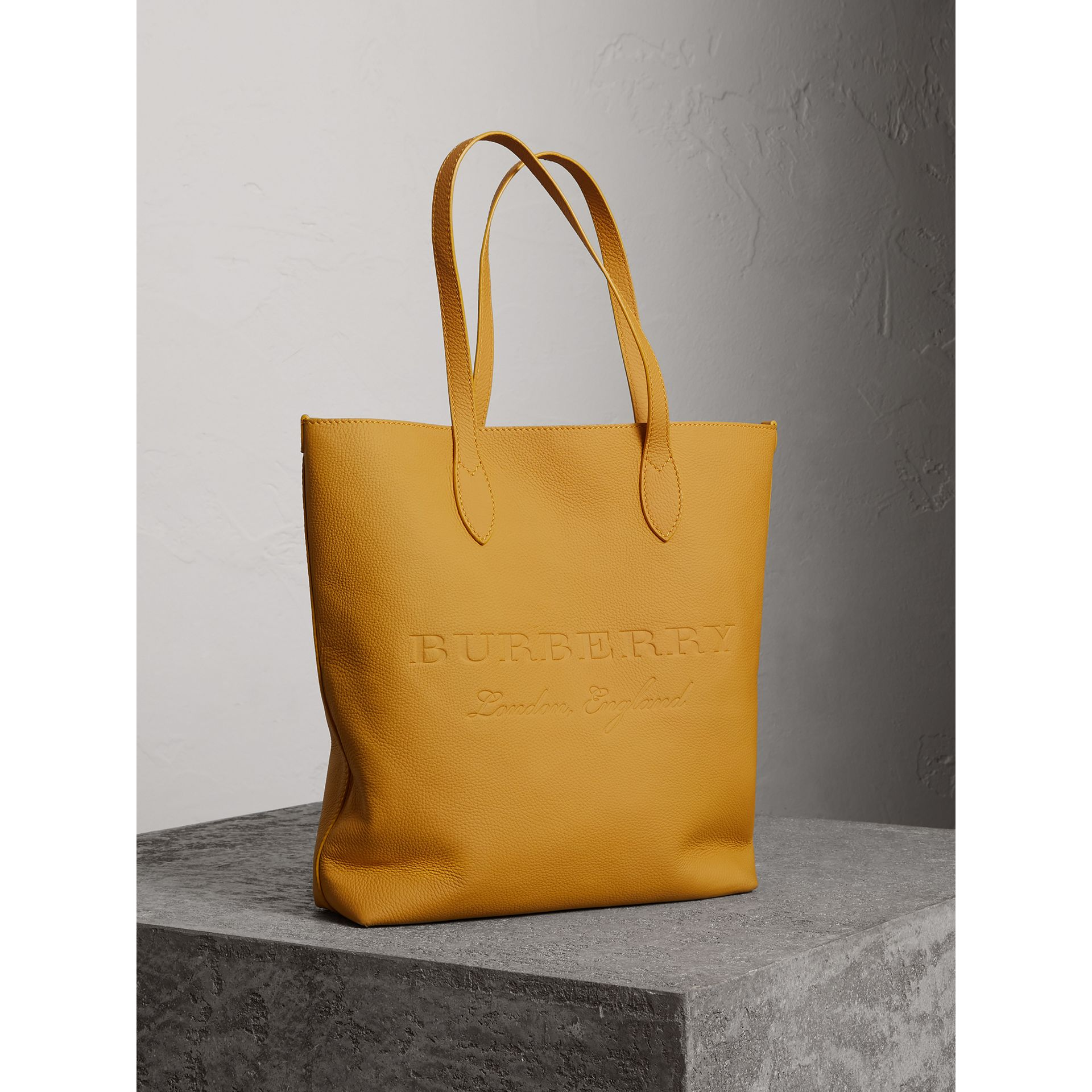Embossed Leather Tote in Ochre Yellow | Burberry United Kingdom - gallery image 5