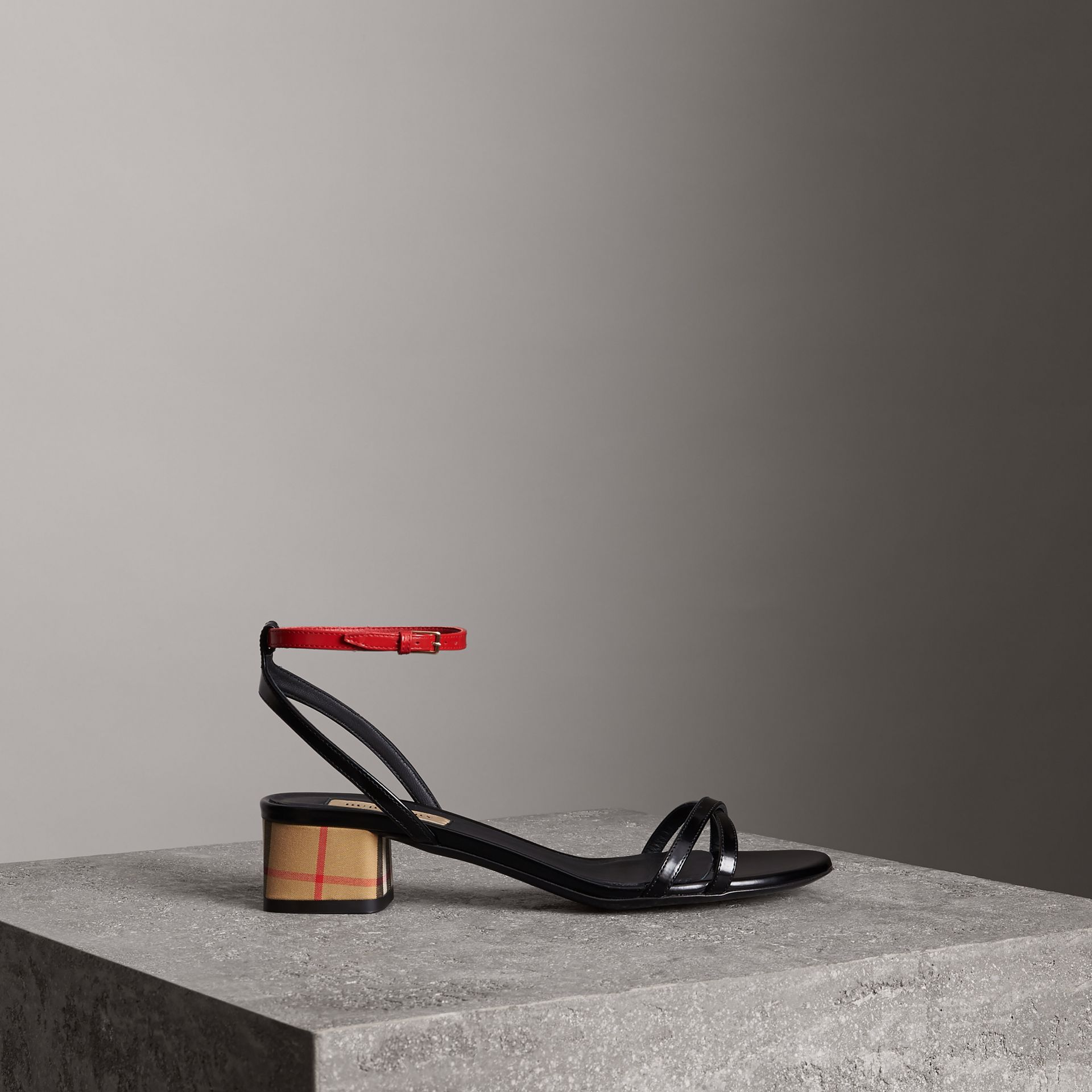 Tartan and Patent Leather Block-heel Sandals in Black - Women | Burberry - gallery image 0