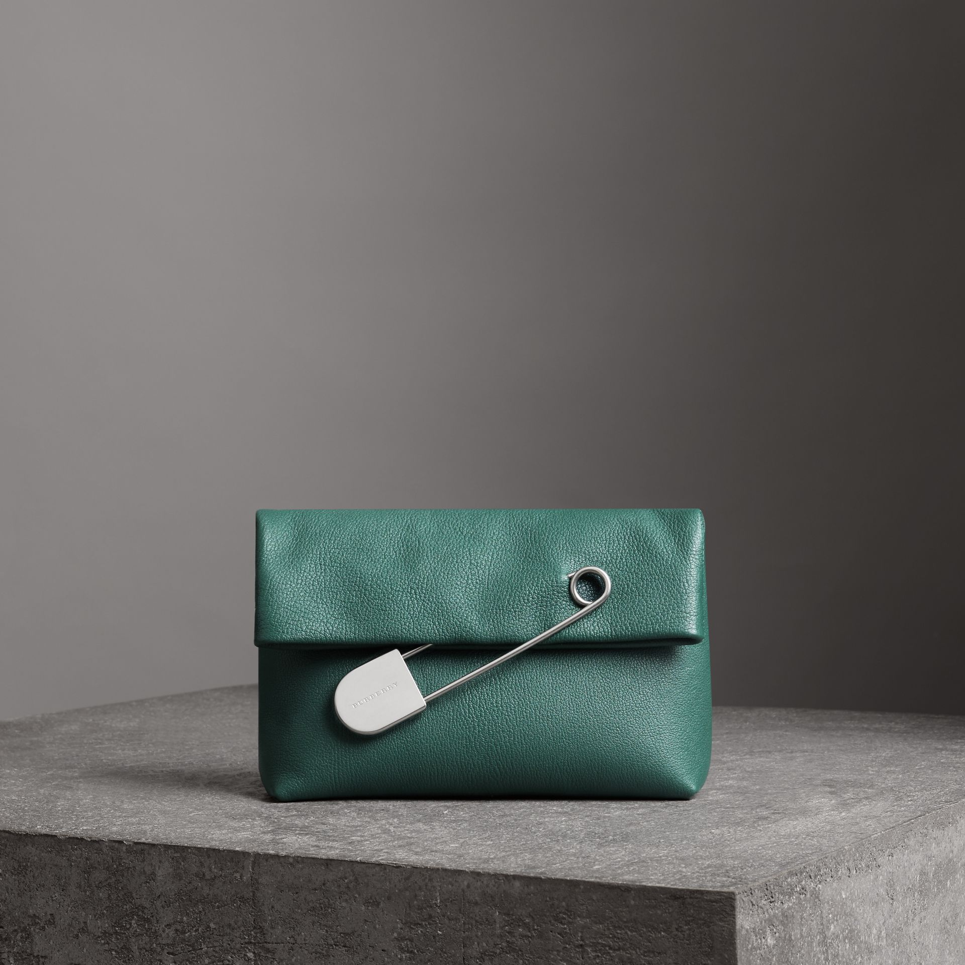 The Medium Pin Clutch in Leather in Sea Green - Women | Burberry United Kingdom - gallery image 0