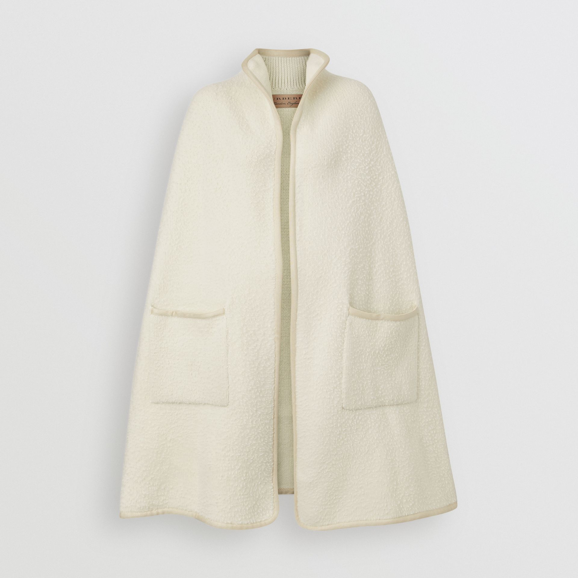 Wool Fleece Cape in Ivory - Women | Burberry Australia - gallery image 3