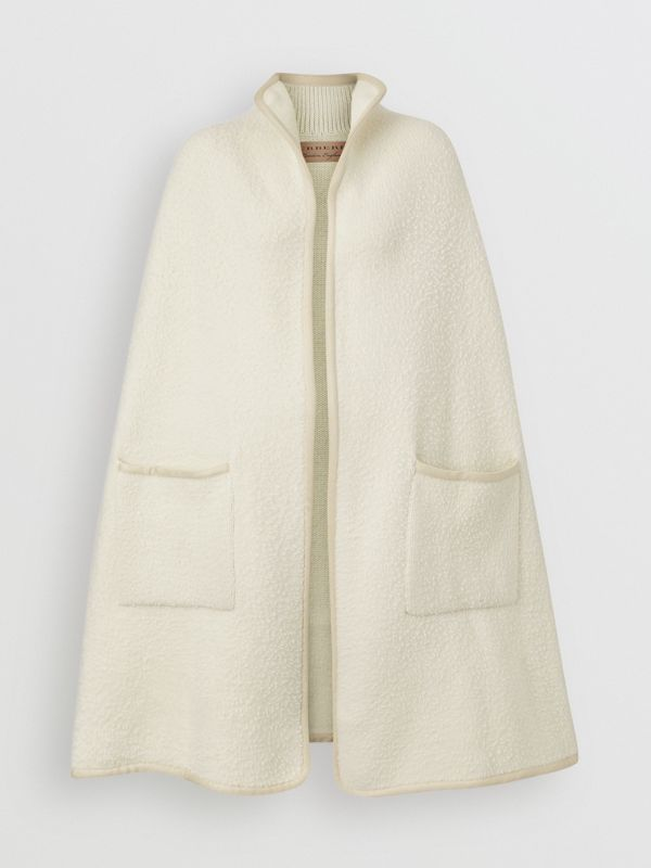 Wool Fleece Cape in Ivory - Women | Burberry Australia - cell image 3