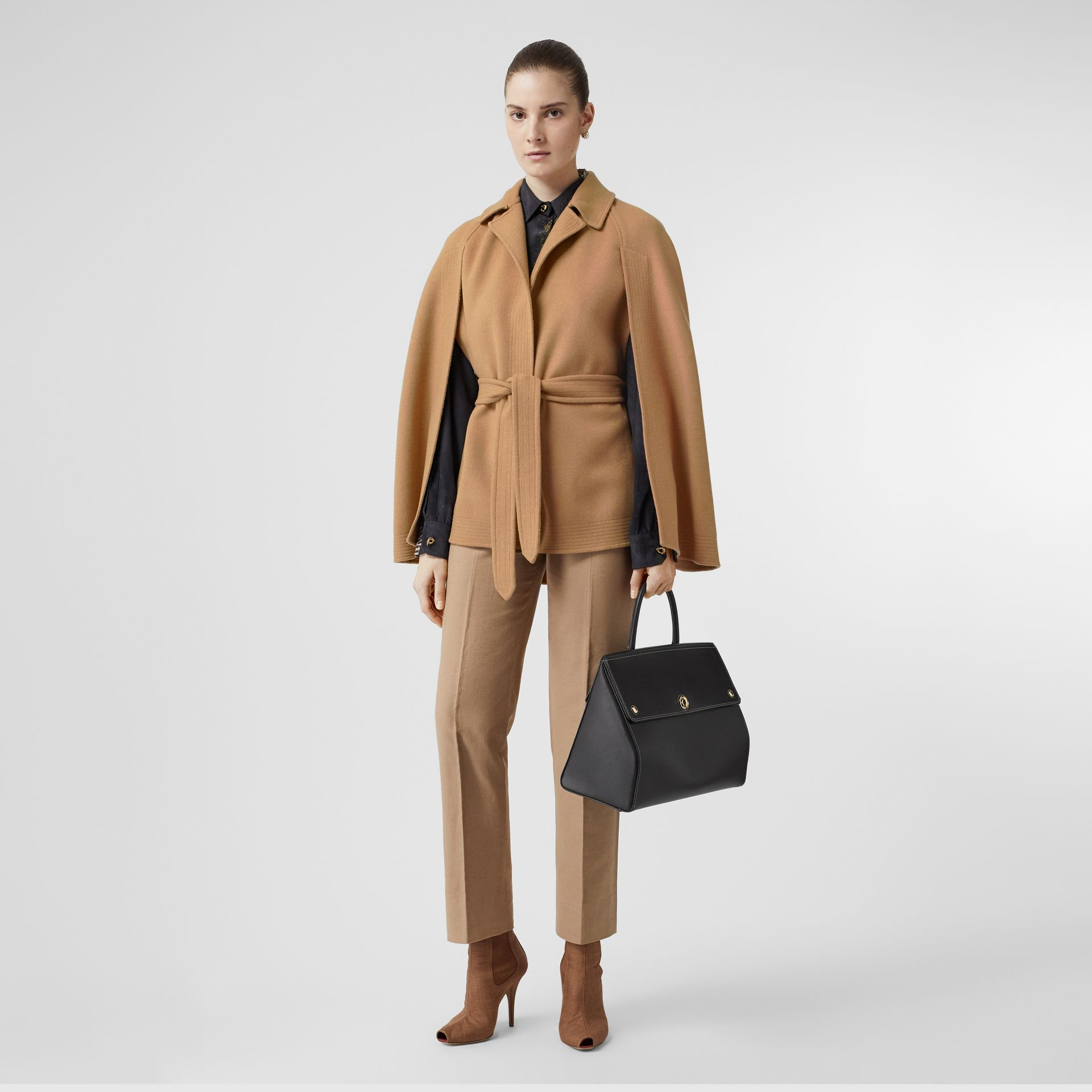Double-faced Camel Hair Belted Cape - Women | Burberry Singapore - gallery image 0