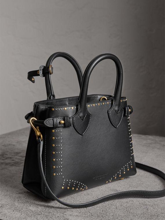 The Small Banner in Riveted Leather in Black - Women | Burberry Australia - cell image 2