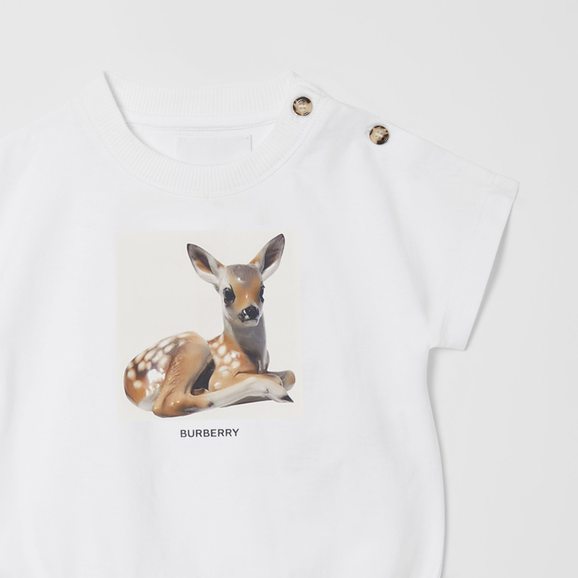 Deer Print Cotton Bodysuit in White - Children   Burberry United States - gallery image 4