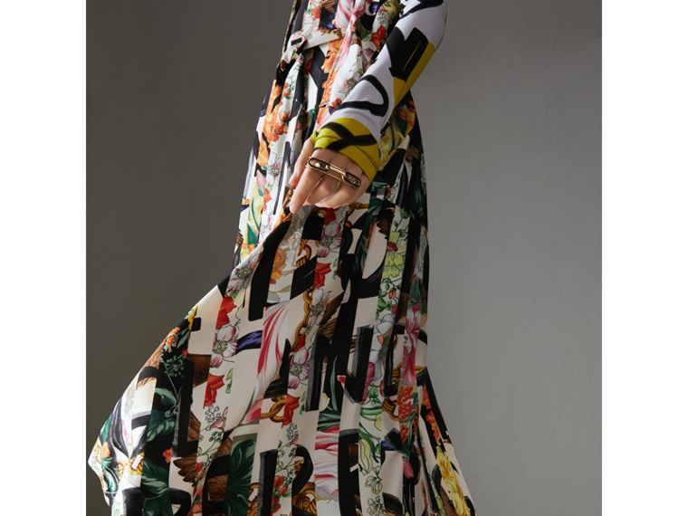 Graffiti Archive Scarf Print Silk Shirt Dress in Multicolour - Women | Burberry - cell image 4