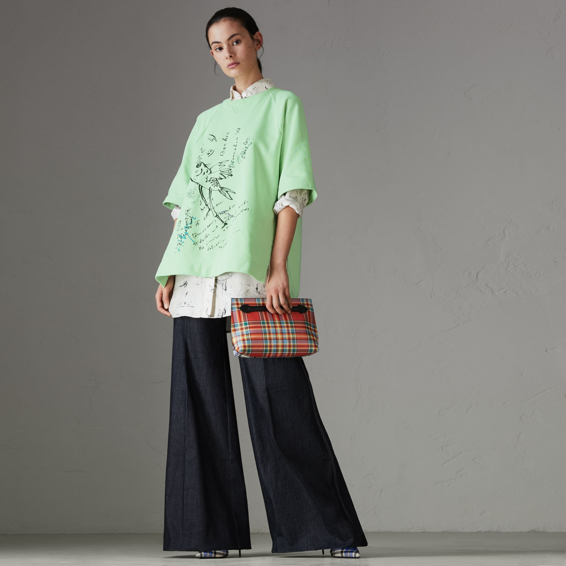 Postcard Print Cotton Jersey T-shirt in Mint Green - Women | Burberry - gallery image 0