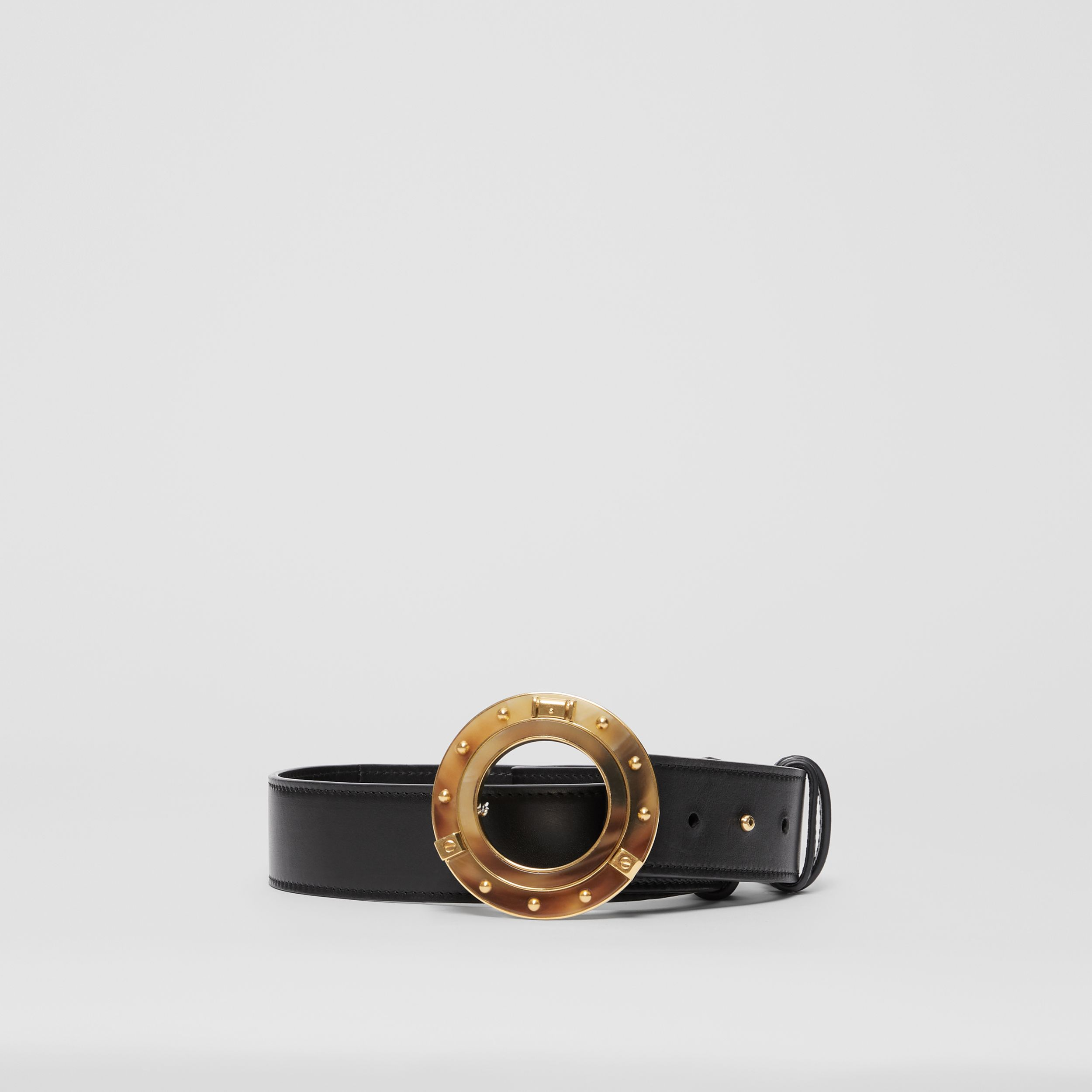 Porthole Buckle Leather Belt in Black | Burberry - 4