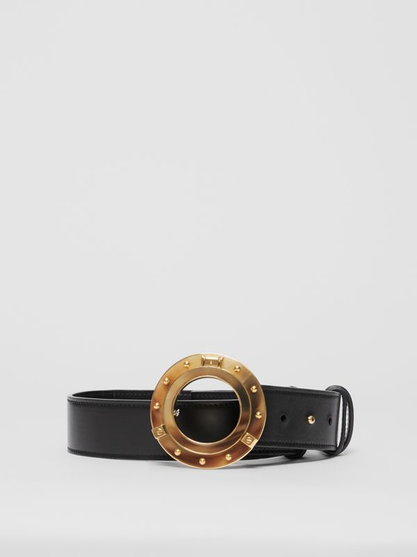 Porthole Buckle Leather Belt in Black - Women | Burberry - cell image 3