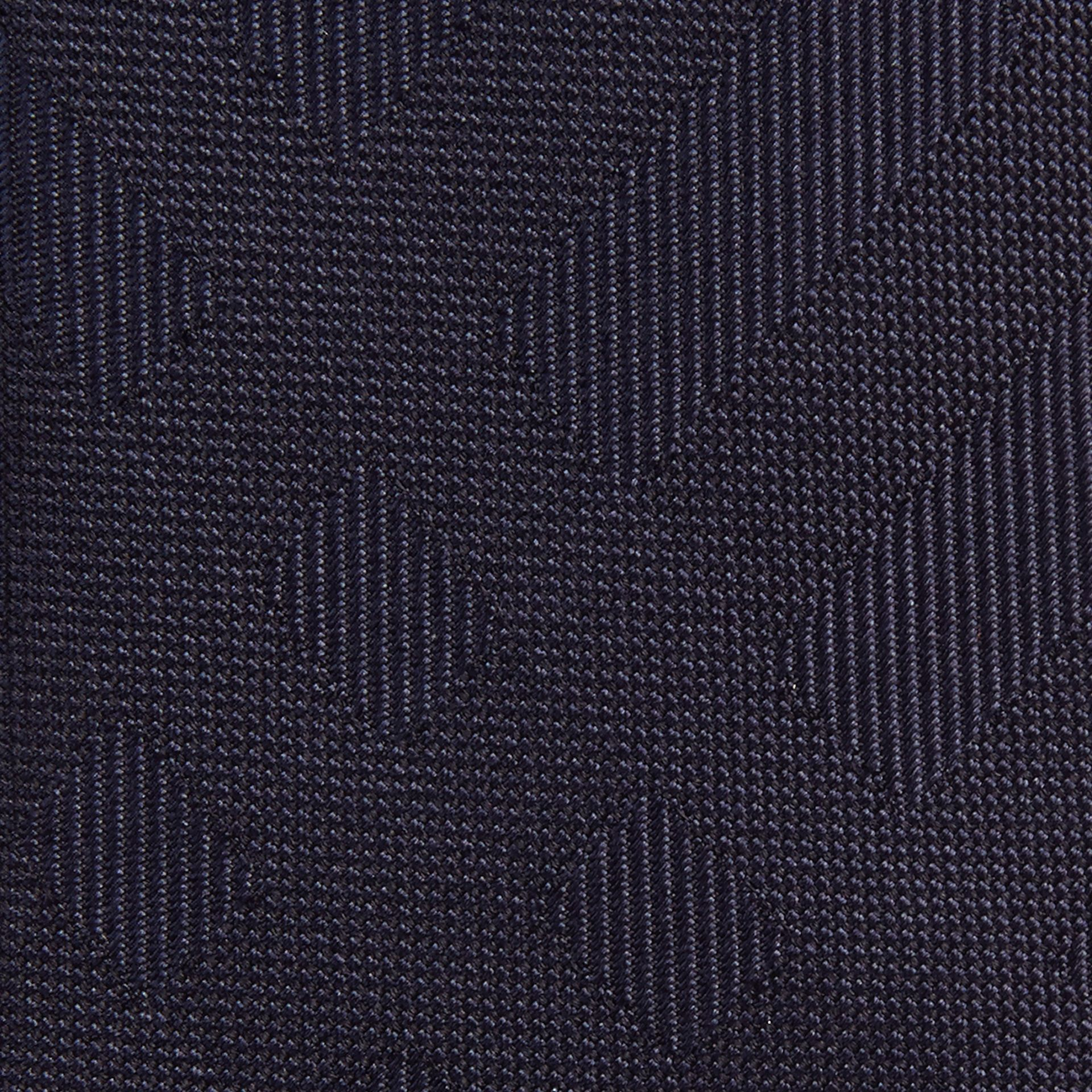 Navy Slim Cut Check Silk Tie Navy - gallery image 2