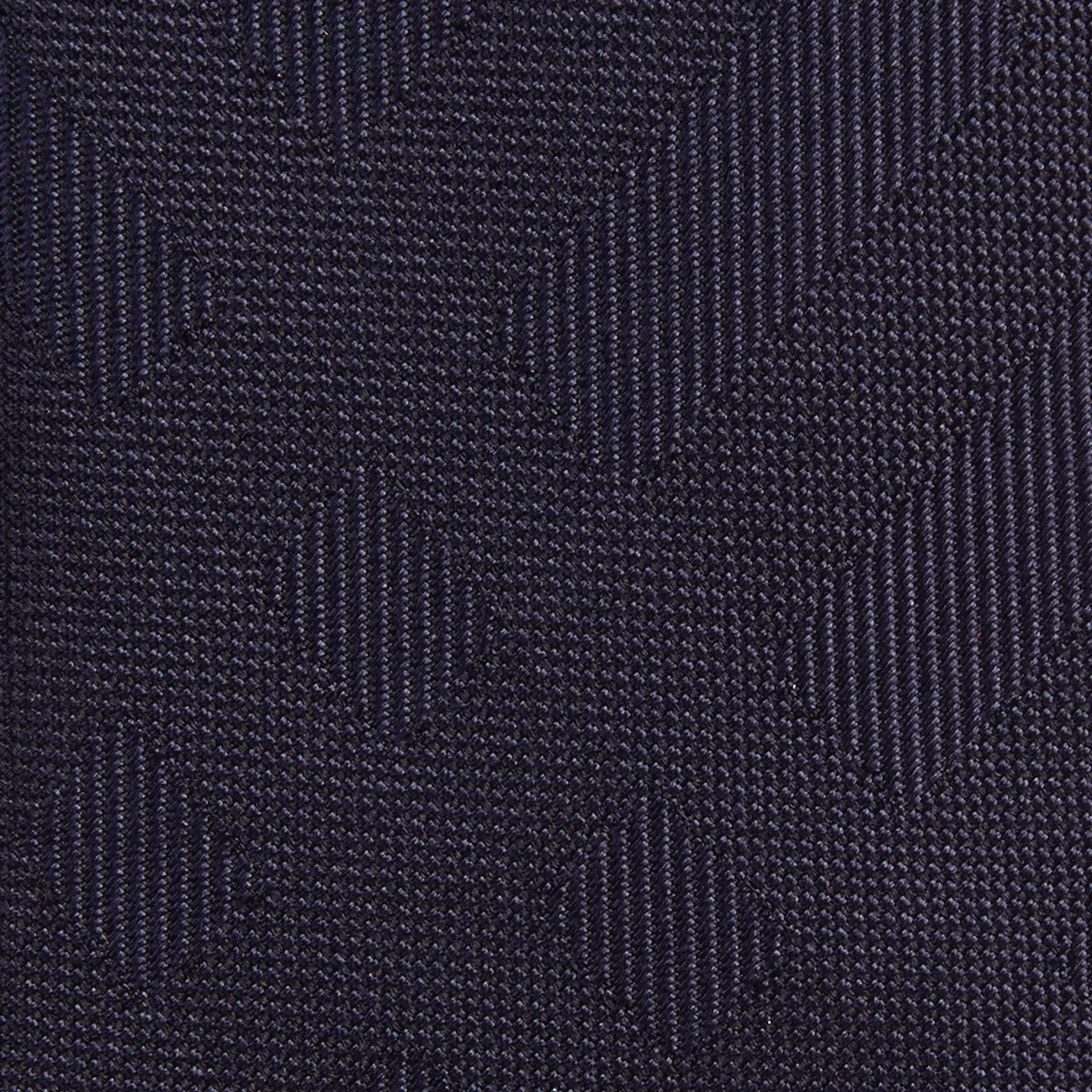 Azul marinho Gravata slim de seda com padrão xadrez Azul Marinho - galeria de imagens 2