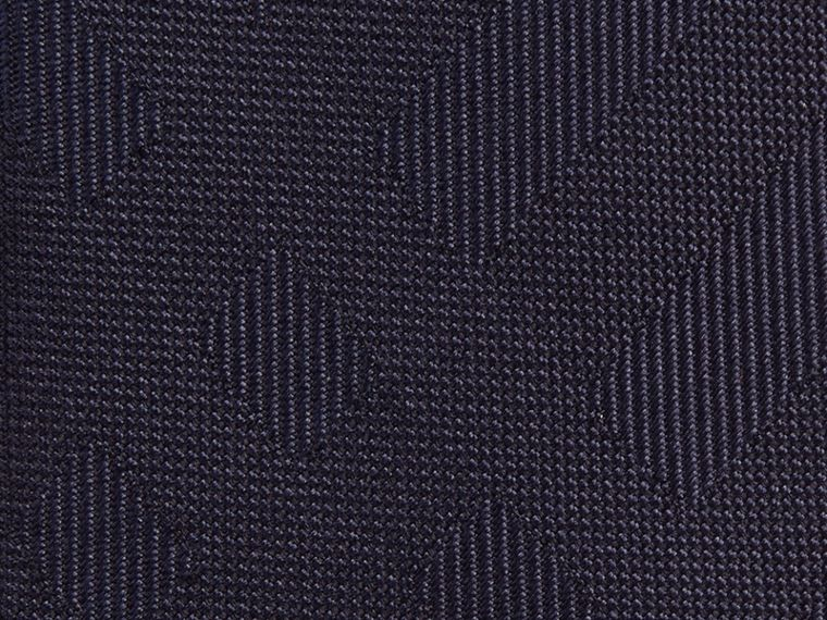 Navy Slim Cut Check Silk Tie Navy - cell image 1