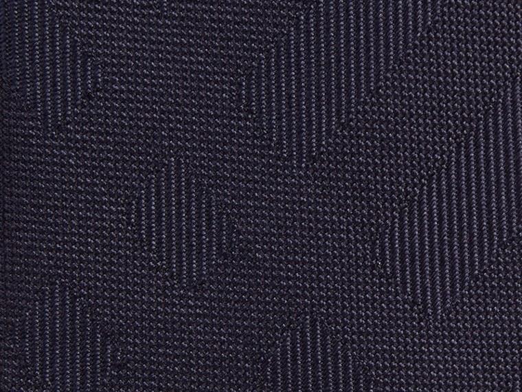 海軍藍 窄版格紋絲質領帶 海軍藍 - cell image 1