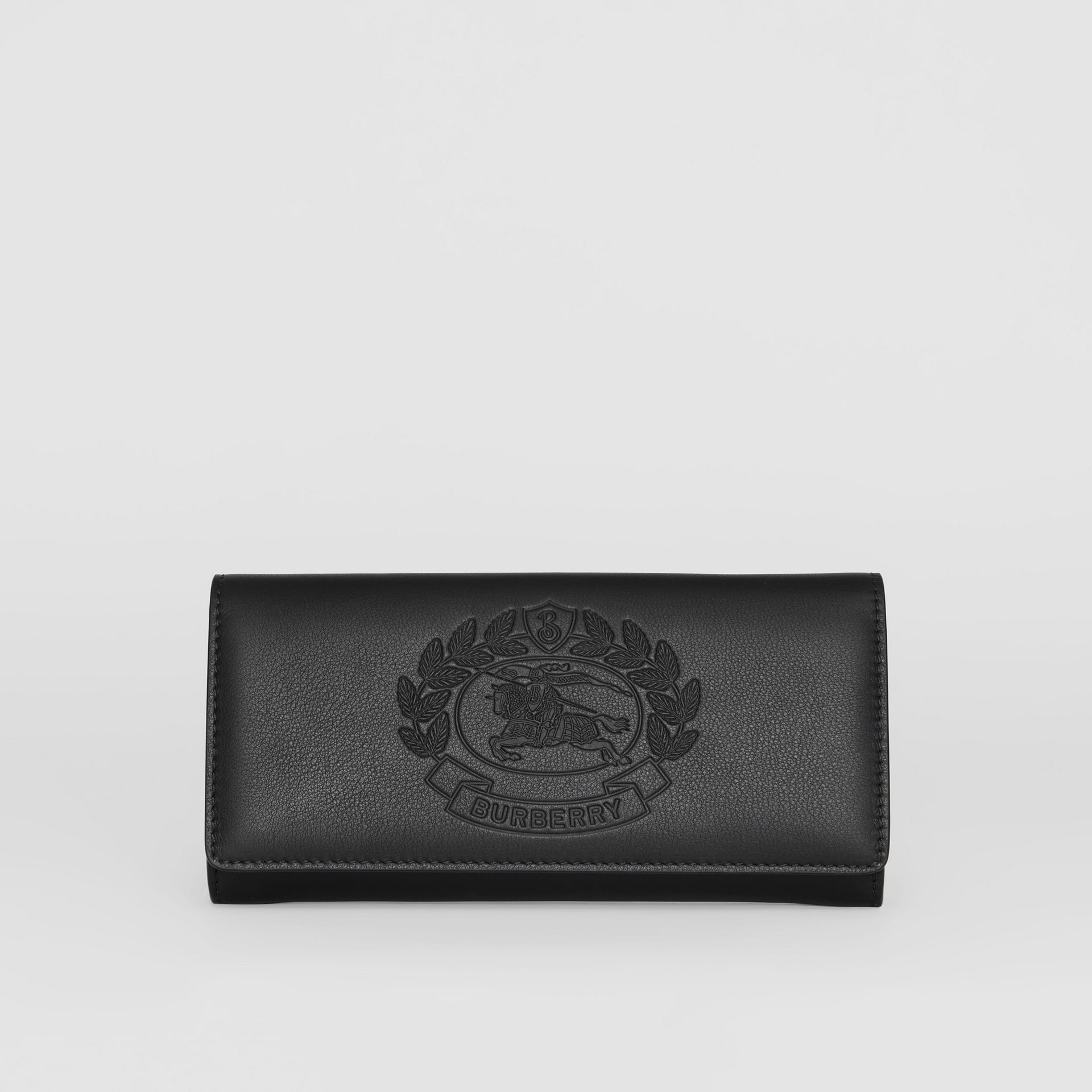 Embossed Crest Two-tone Leather Continental Wallet in Black - Women | Burberry United States - gallery image 0