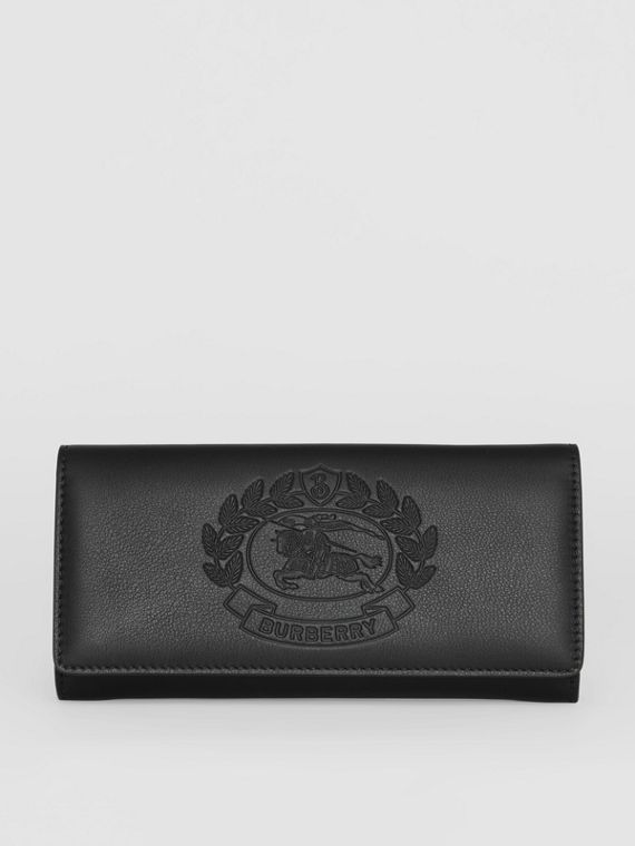 Embossed Crest Two-tone Leather Continental Wallet in Black