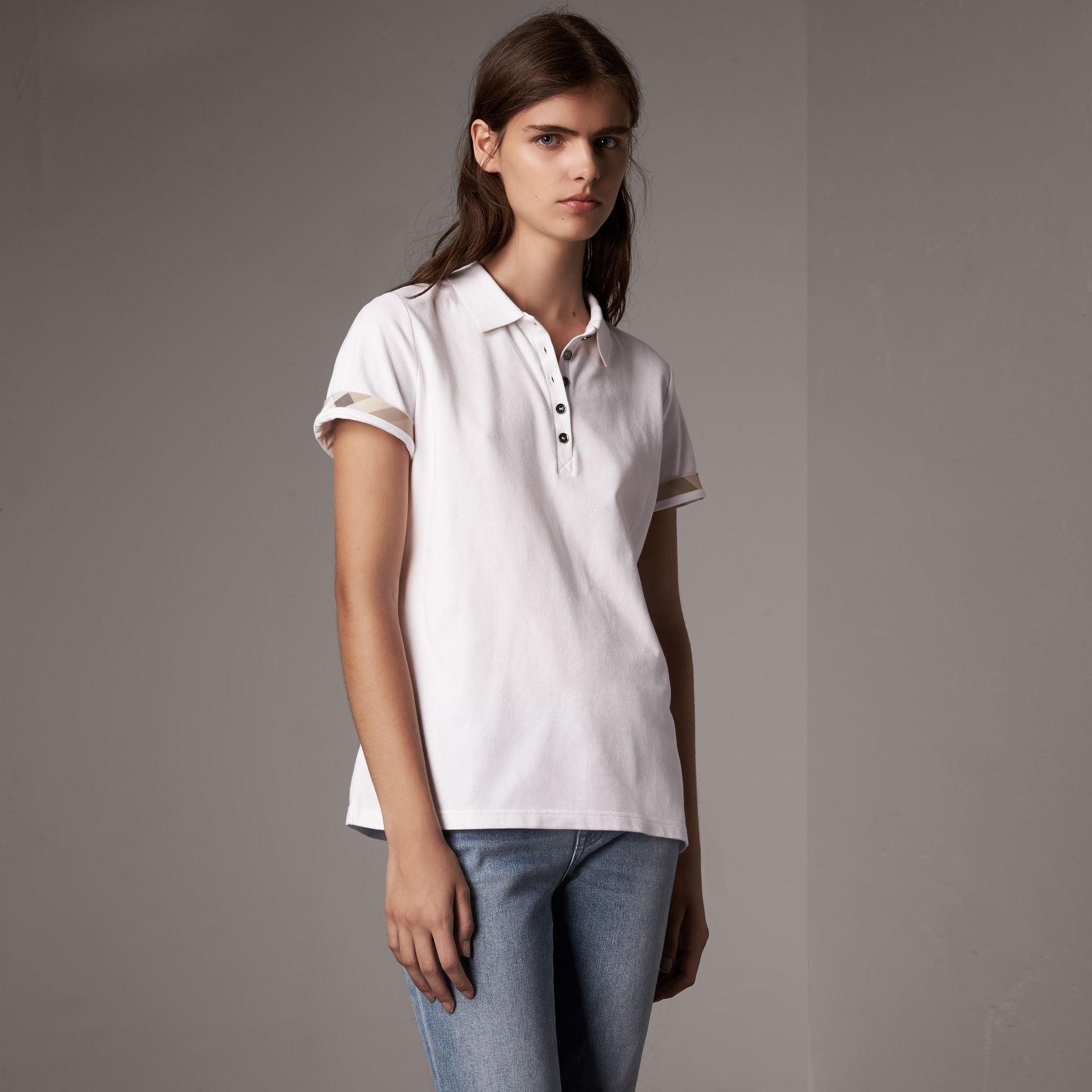 Check Trim Stretch Cotton Piqué Polo Shirt in White - Women | Burberry United States - gallery image 0