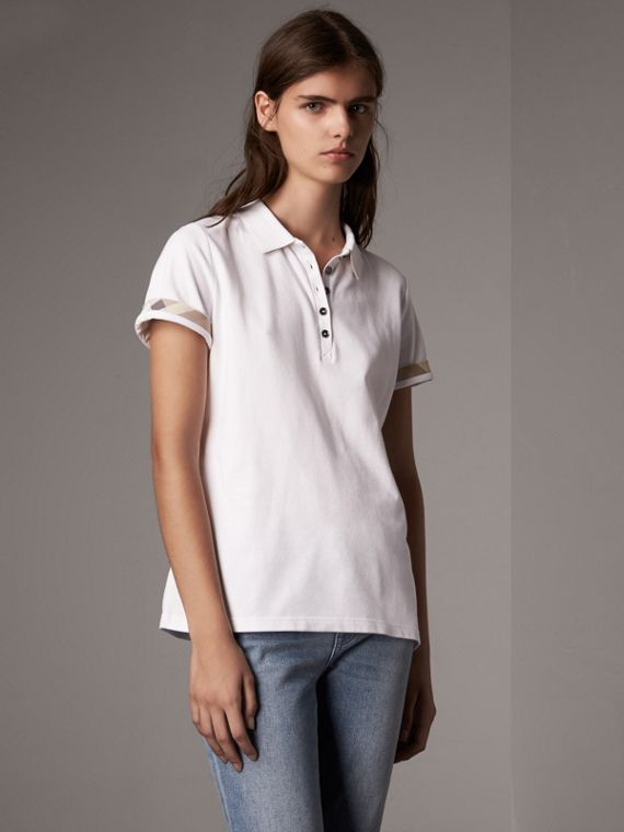 Check Trim Stretch Cotton Piqué Polo Shirt in White