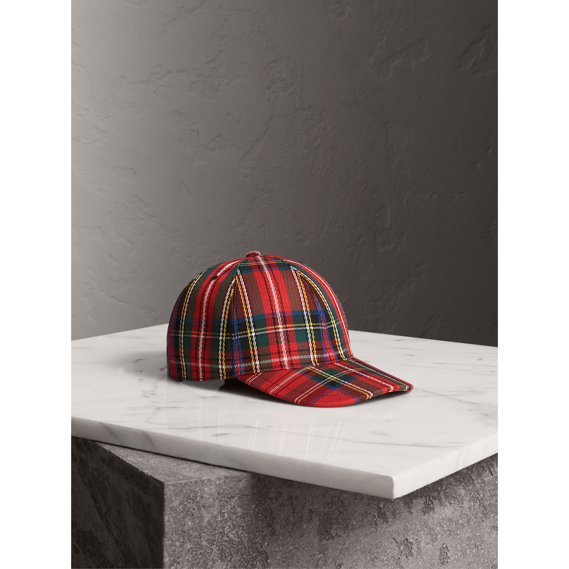 Tartan Baseball Cap in Bright Red | Burberry - gallery image 1