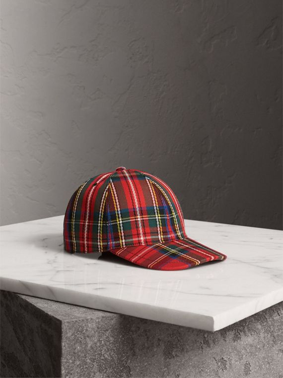 Tartan Baseball Cap in Bright Red