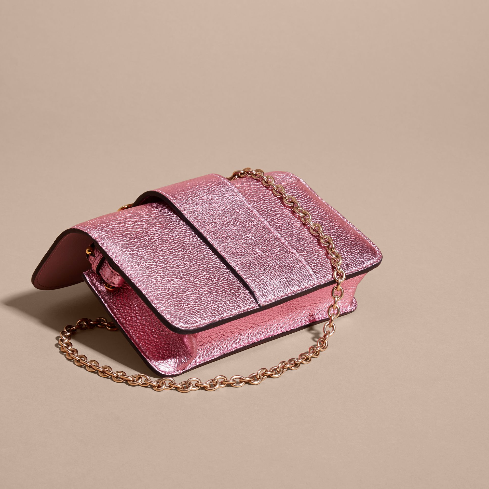 The Mini Buckle Bag in Metallic Grainy Leather in Pale Orchid - gallery image 5