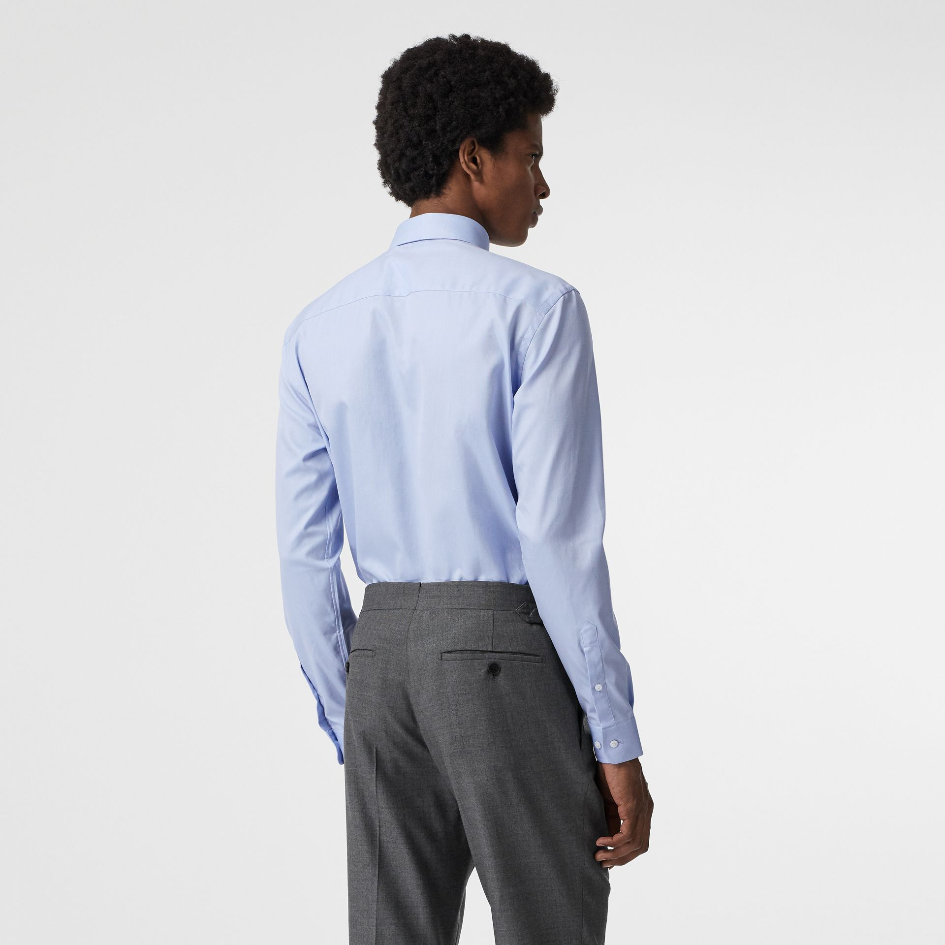 Modern Fit Cotton Shirt in Mid Blue - Men | Burberry - gallery image 2