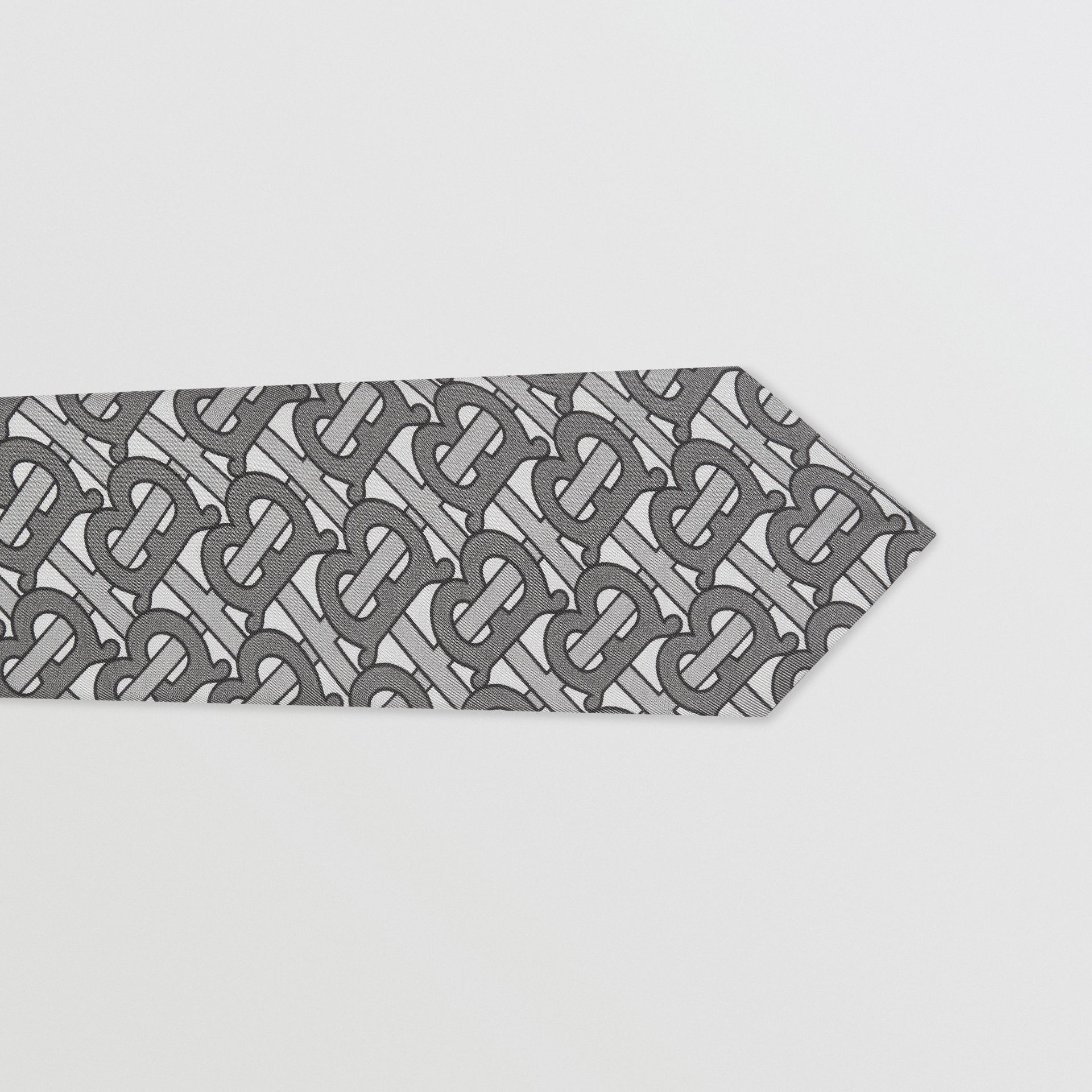 Classic Cut Monogram Print Silk Tie in Mid Grey - Men | Burberry - gallery image 1