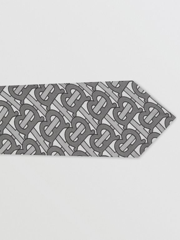 Classic Cut Monogram Print Silk Tie in Mid Grey - Men | Burberry - cell image 1