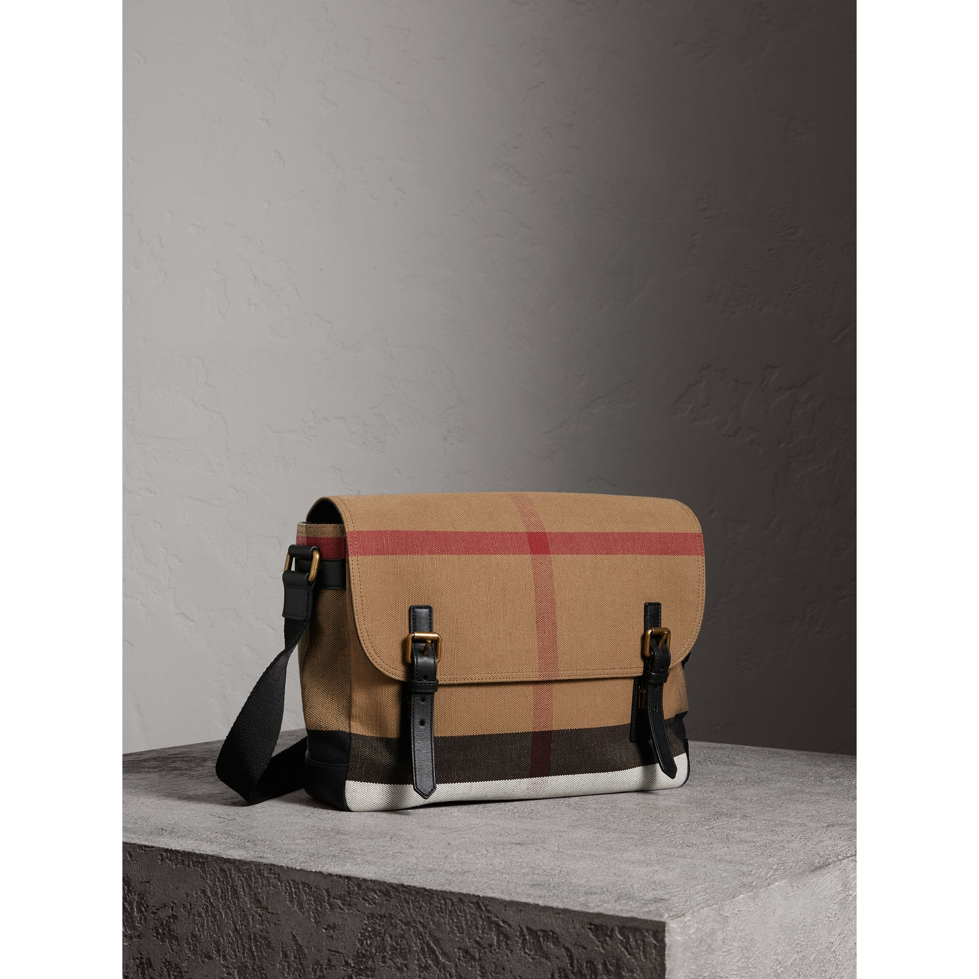 Large Leather Trim Canvas Check Messenger Bag in Black - Men | Burberry Australia - gallery image 5