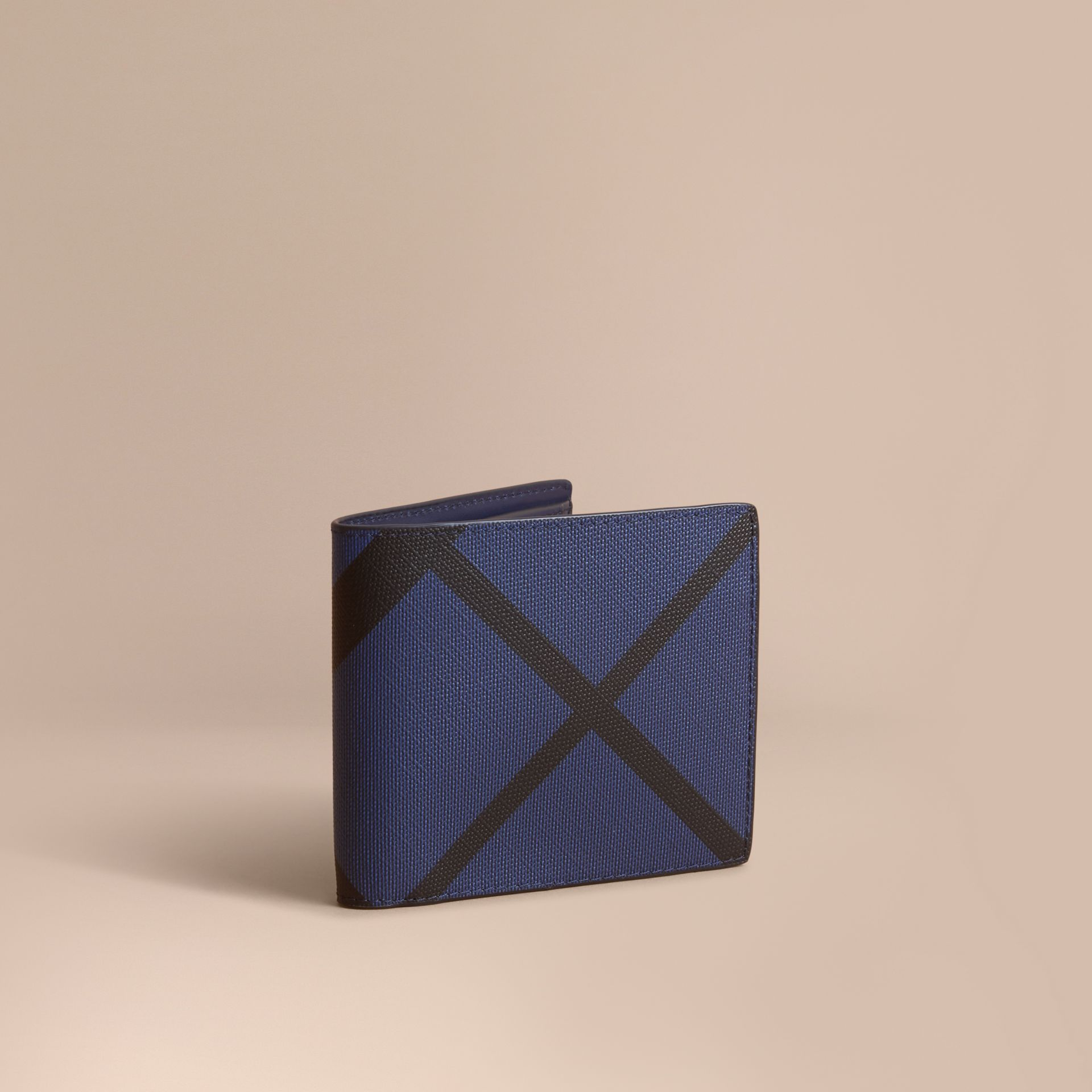 London Check Bifold Wallet with Coin Compartment in Bright Lapis - Men | Burberry - gallery image 1