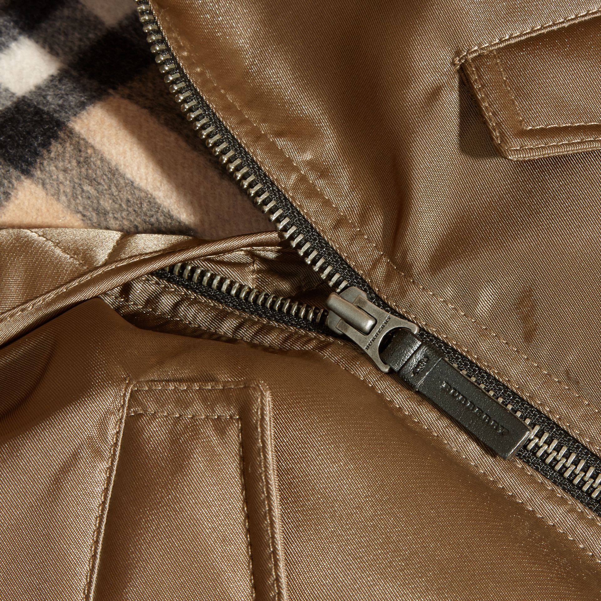 Dark taupe Satin Bomber Jacket with Check Wool Cashmere Lining - gallery image 2