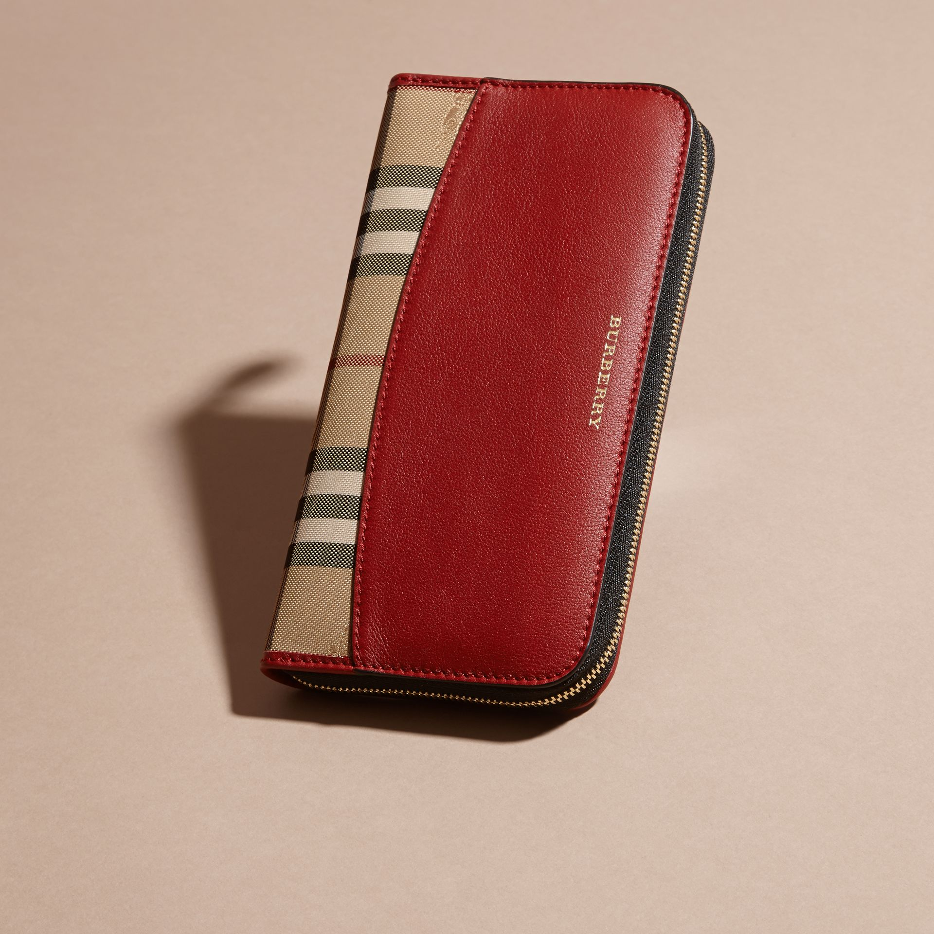 Horseferry Check and Leather Ziparound Wallet in Parade Red - Women | Burberry Canada - gallery image 3