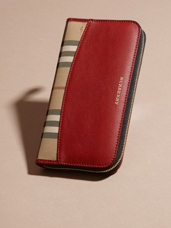 Horseferry Check and Leather Ziparound Wallet in Parade Red - Women | Burberry Canada - cell image 2