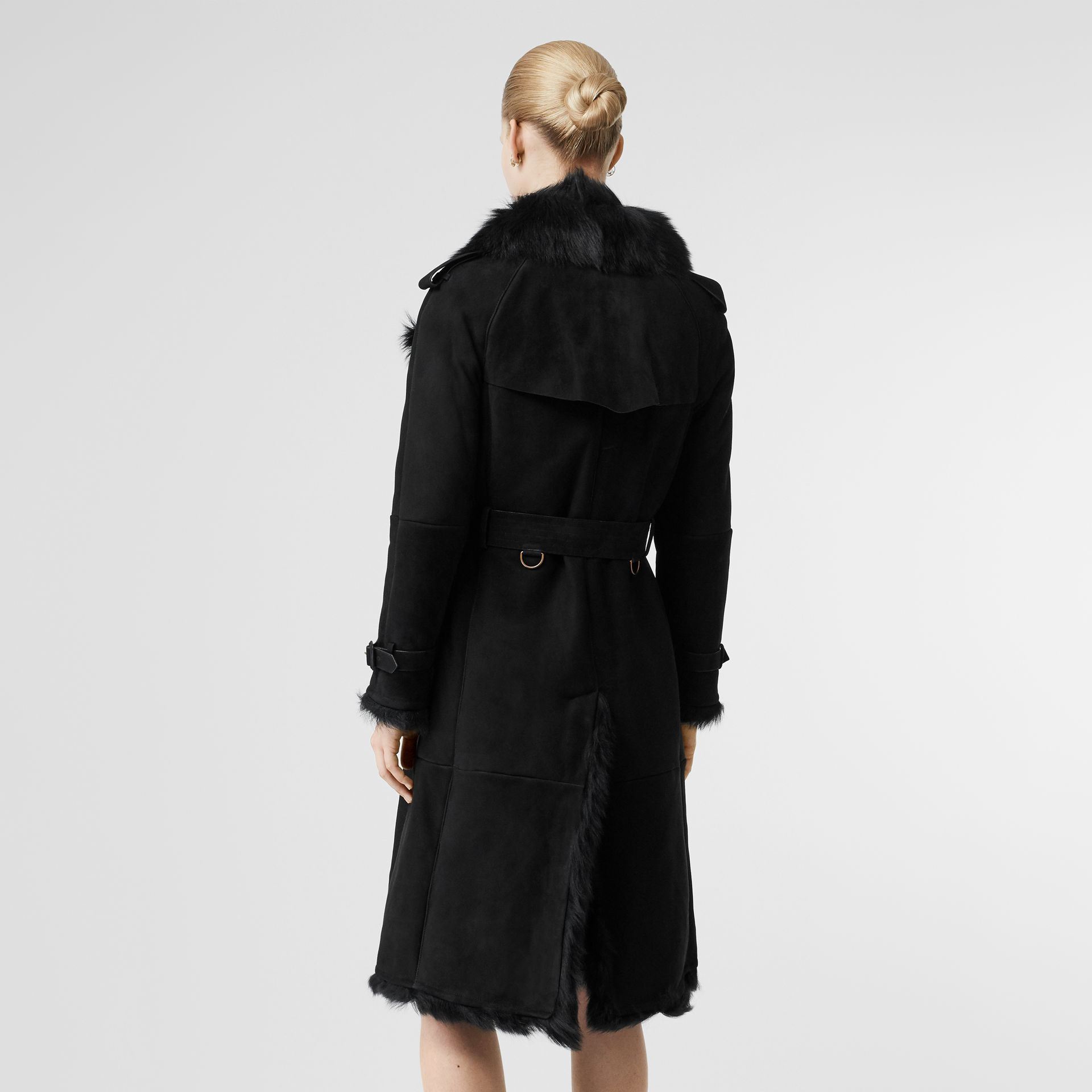 Shearling Trench Coat in Black - Women | Burberry - gallery image 2