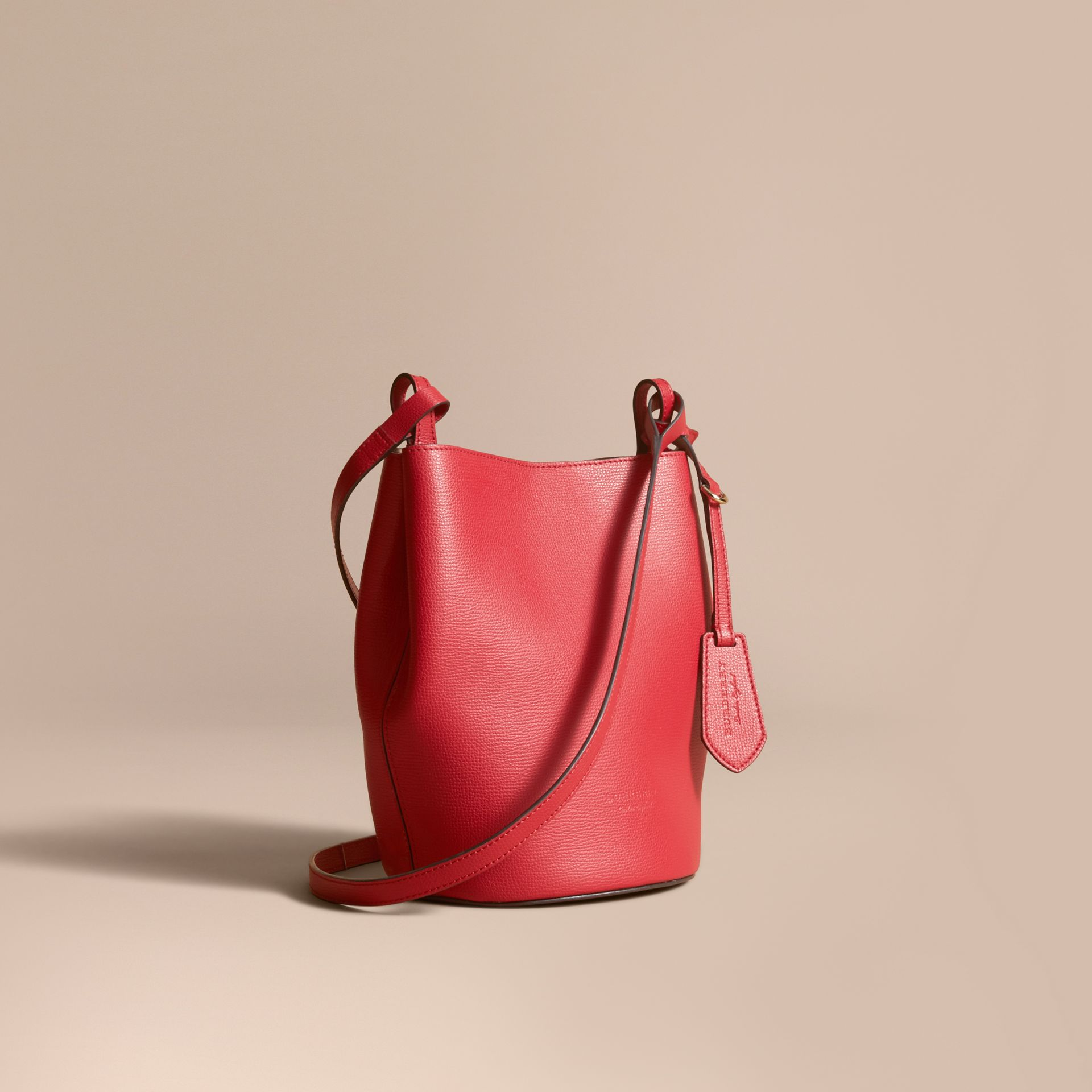 Leather and Haymarket Check Crossbody Bucket Bag in Poppy Red - Women | Burberry Australia - gallery image 1
