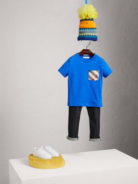 체크 포켓 코튼 티셔츠 (코발트 블루)