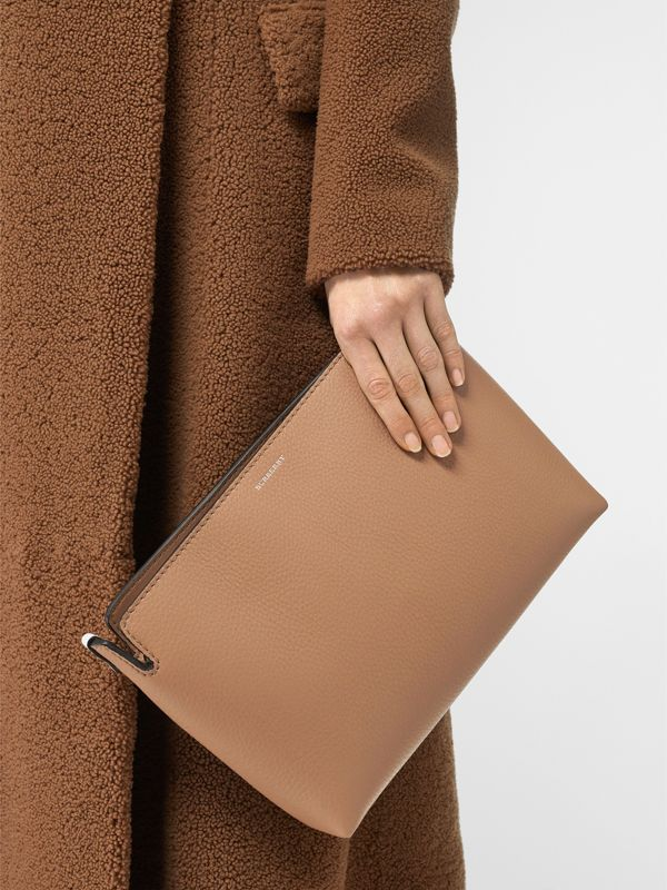 Medium Two-tone Leather Clutch in Light Camel/chalk White - Women | Burberry United States - cell image 2