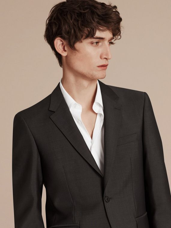 Dark grey Modern Fit Wool Mohair Part-canvas Suit Dark Grey - cell image 2