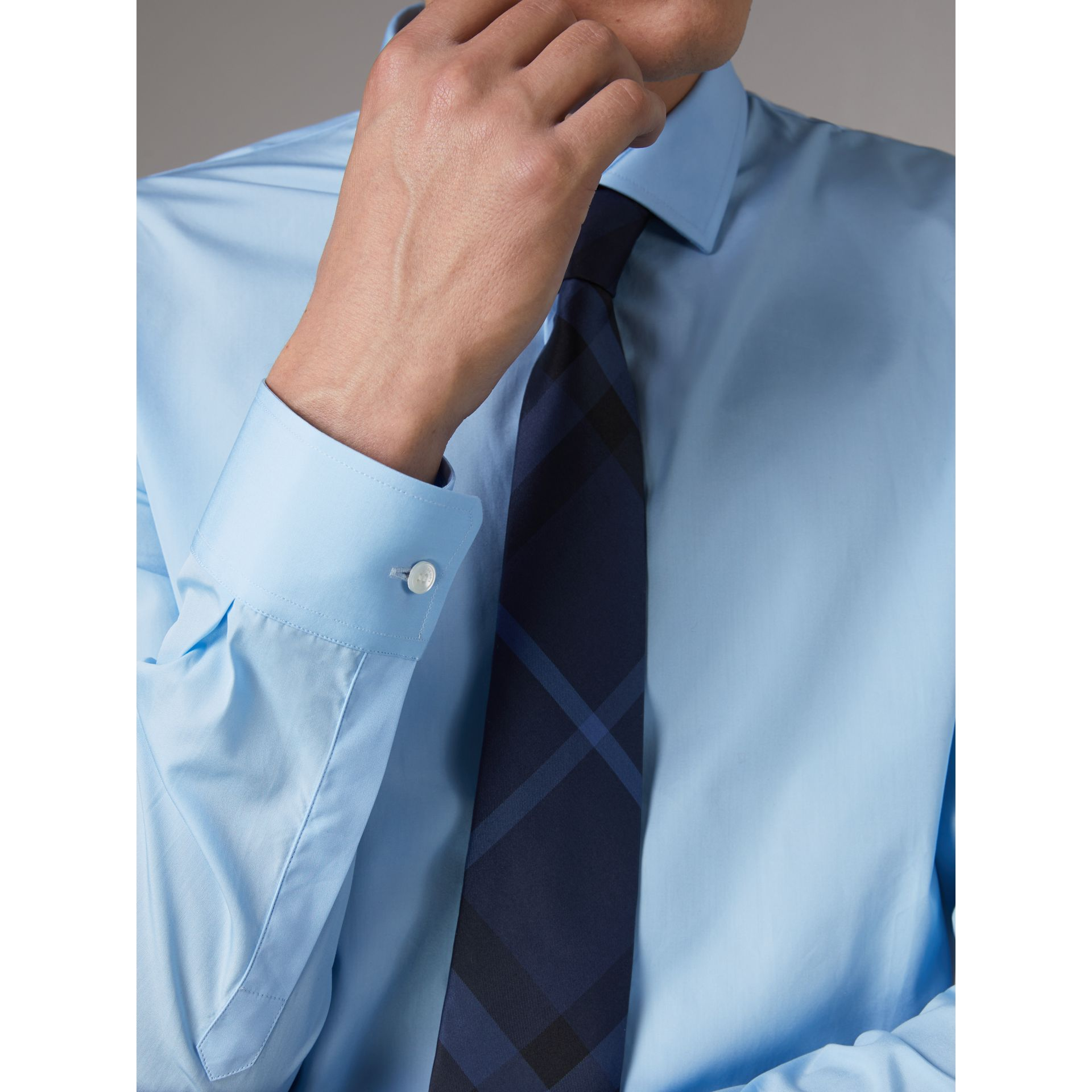 Slim Fit Cotton Poplin Shirt in City Blue - Men | Burberry United Kingdom - gallery image 1