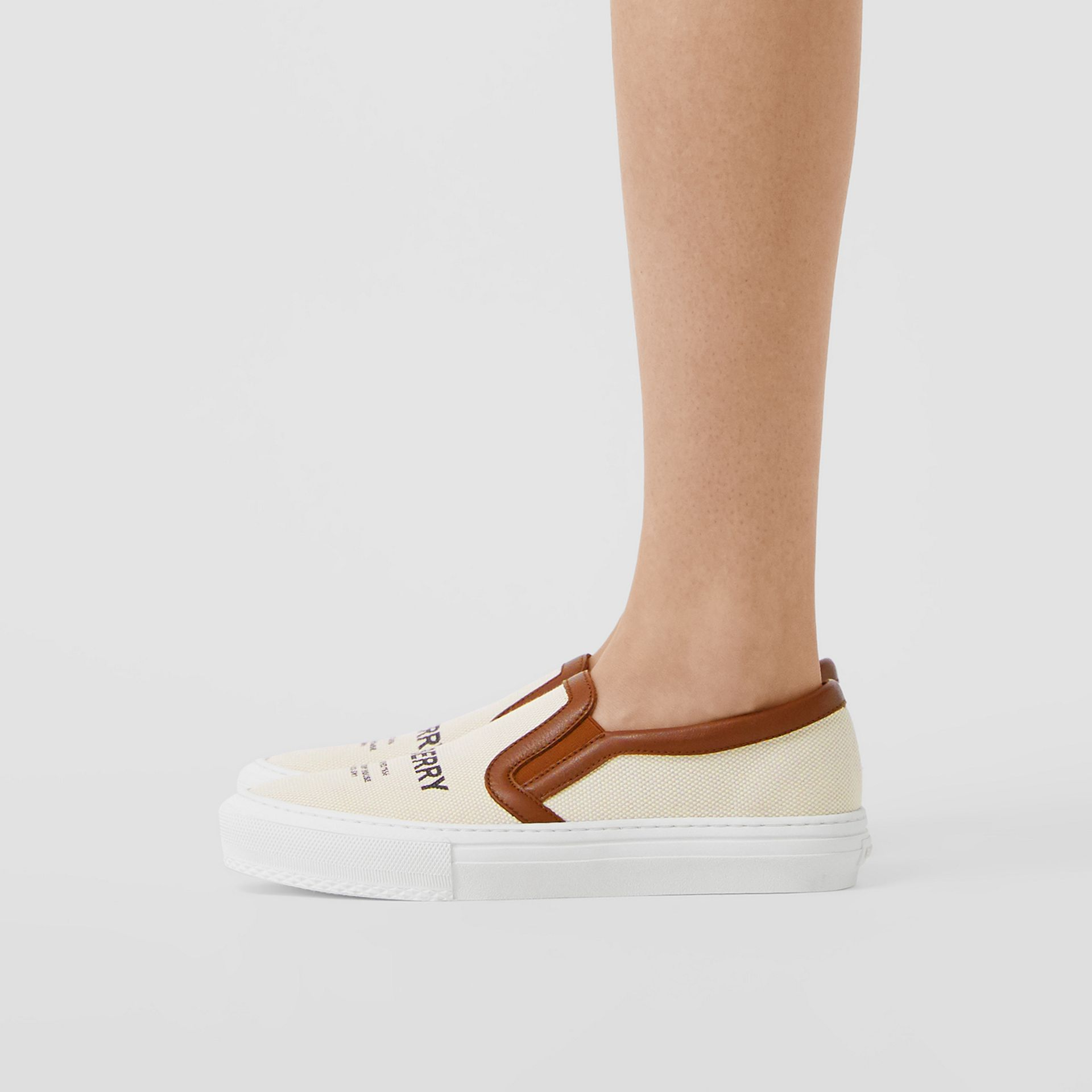 Horseferry Print Cotton and Leather Slip-on Sneakers in Malt Brown - Women | Burberry - gallery image 2