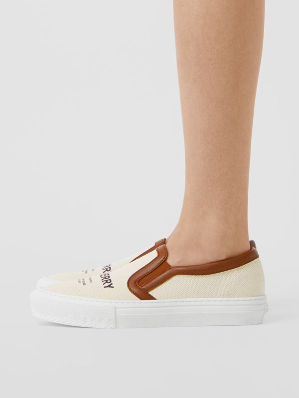 Horseferry Print Cotton and Leather Slip-on Sneakers in Malt Brown - Women | Burberry - cell image 2