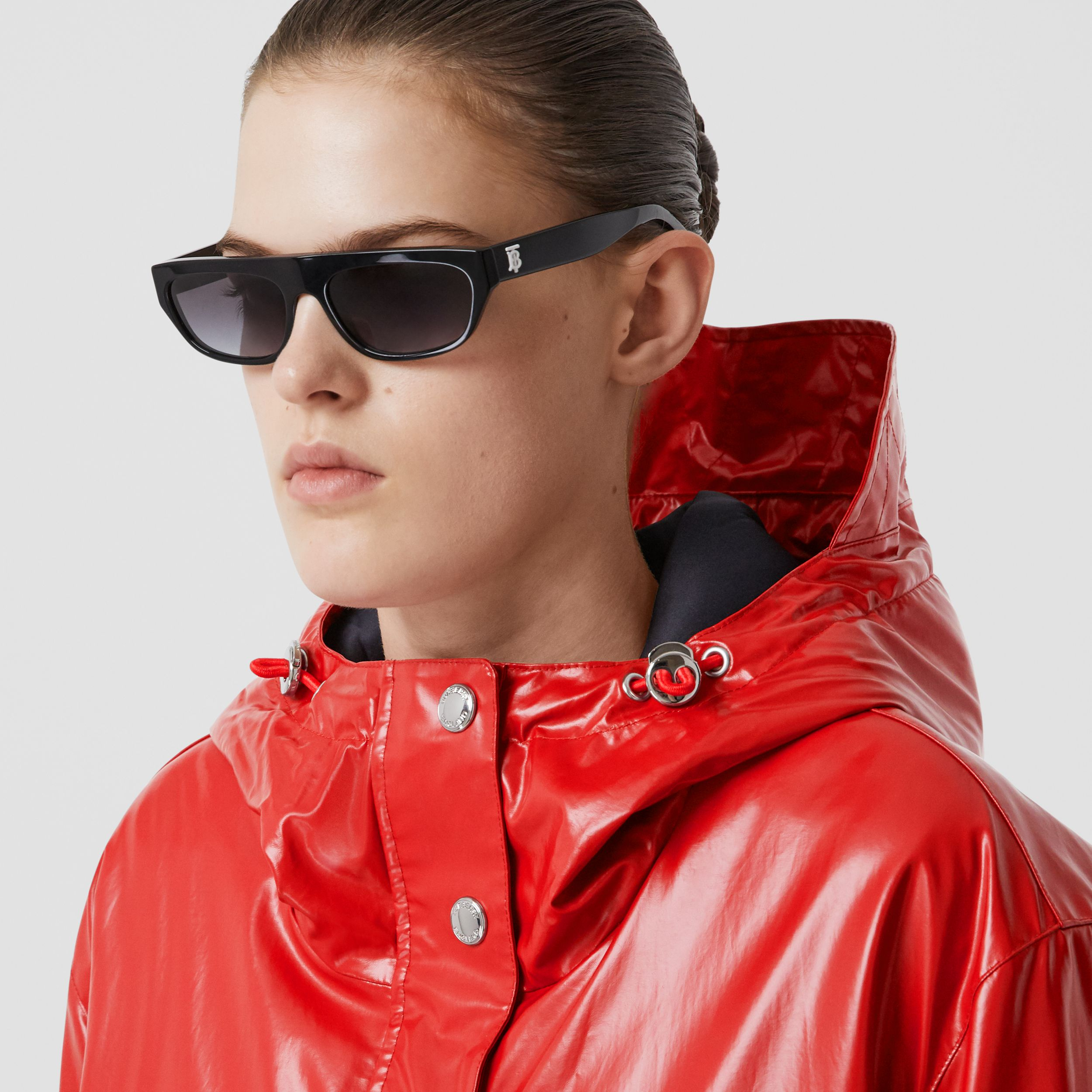 Horseferry Print Coated Jersey Parka in Bright Red - Women | Burberry - 2